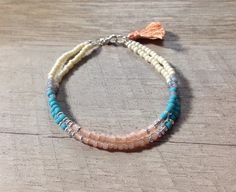Modern Navajo Style Bracelet Turquoise Blush Coral by ArtandKnot