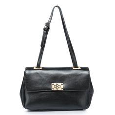 lock style leather handbag, Color: Black, No.: 1170388-01
