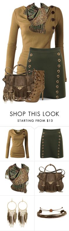 """""""Skirt and Boots"""" by jackie22 ❤ liked on Polyvore featuring Ella Rabener, Panacea and Domo Beads"""