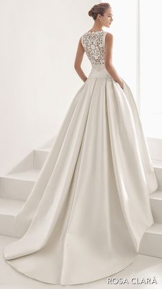 rosa clara 2017 bridal sleeveless bateau neckline simple clean drop waist ball gown wedding dress with pockets cover lace back chapel train (nao) bv -- Rosa Clará 2017 Bridal Collection