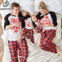 Pudcoco 2017 Family Matching Christmas Pajamas Set Print Bear Women Kids Adult Sleepwear Nightwear New Year Outfits For Family #ChristmasOutfit