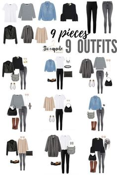 9 pieces x 9 outfits. Just a sampling of the hundreds of outfits you can make from the Minimalist Wardrobe Challenge capsule wardrobe! On sale for only $17! #bestwardrobebasics