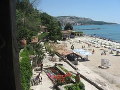 A view of the beach at Albena, Bulgaria.  Not only is there quite an expansive coastline but also some attractive public gardens here too.