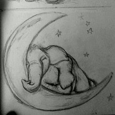 Concept sketch for one in a set of three elephant, moon, & stars paintings for a baby girl's nursery. Cool Art Drawings, Pencil Art Drawings, Art Drawings Sketches, Pretty Easy Drawings, Simple Animal Drawings, Drawings Of Love, Sketches Of Love, Drawing Ideas, Elephant Sketch