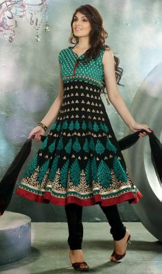 Black Embroidered Faux Georgette Anarkali Dress #Georgette-AnarkaliSuit #Super-Stylish-Embroidered Price:British UK Pound £139, Euro172, Canada CA$256, Indian Rs.12636