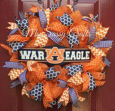 Auburn Wreath - War Eagle- War Eagle Wreath - Auburn Tigers - Auburn University - Auburn Deco Mesh Wreath by MsSassyCrafts on Etsy https://www.etsy.com/listing/240658021/auburn-wreath-war-eagle-war-eagle-wreath