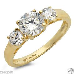 55709 Wedding-rings 1.50 CT Three Stone Halo Round Engagement Ring 14k SOLID Yellow Gold Bridal Band  BUY IT NOW ONLY  $141.55 1.50 CT Three Stone Halo Round Engagement Ring 14k SOLID Yellow Gold Bridal Band...
