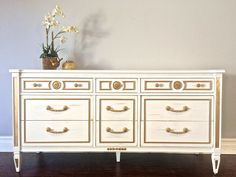 Shabby Chic White & Silver 9 Drawer Dresser / Buffet - $425 - SOLD