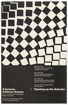 "Poster, ""Opening Up the Suburbs"", 20th century. Dan Friedman. Offset lithograph on paper. Gift of Ken Friedman. 1997-19-224."