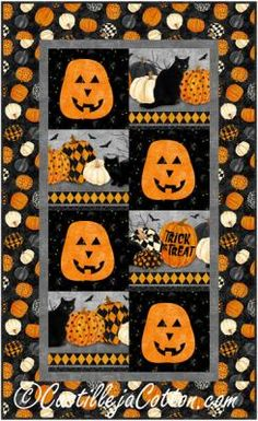 """Easy to make Halloween wall or table quilt. Appliqued pumpkins. Finished Size: Wall Hanging 28"""" x 46"""" Skill Level: Advanced Beginner Technique: Fusible Applique/Pieced Halloween Patterns, Trick Or Treat, Pumpkins, Quilt Patterns, Applique, Quilts, Sewing, Wall, Dressmaking"""