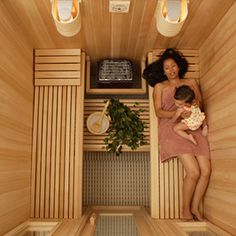 Perfect, compact layout for a sauna. This is one part of my hydrotherapy retreat that exists in my Dream Beach House! Diy Sauna, Home Spa Room, Spa Rooms, Sauna Steam Room, Sauna Room, Sauna Kits, Sauna Ideas, Basement Sauna, Sauna A Vapor