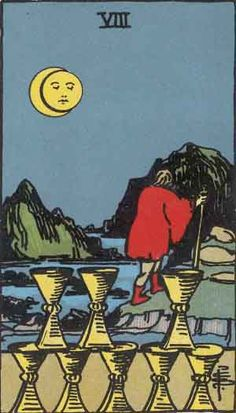 Have you chosen to leave a relationship, love, friendship, home, or job behind? The Eight of Cups tarot card represents abandonment and letting go. Find the full Eight of Cups meaning by clicking on the link. One Card Tarot, Tarot Cards, Eight Of Cups, Pet Psychic, Psychic Readings, Tarot Significado, Rider Waite Tarot, Tarot Waite, Free Tarot Reading