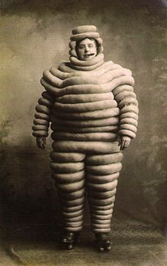 Vintage/Old Early 1900 Weird/Strange/Odd Michelin Man Cigar/Skate Costume Photo Vintage Pictures, Old Pictures, Vintage Images, Old Photos, Vintage Abbildungen, Michelin Man, Michelin Tires, Grant Wood, Weird And Wonderful