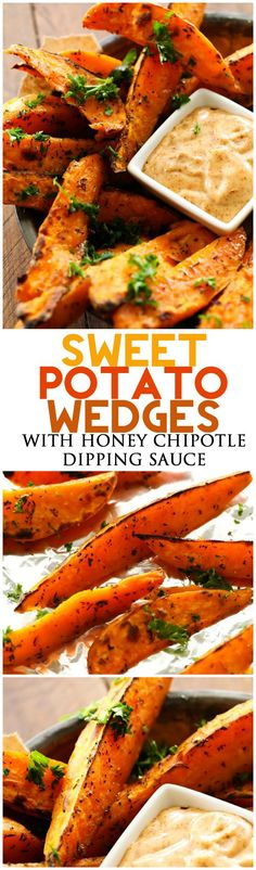 Sides [These Sweet Potato Wedges are SO yummy and the Honey Chipotle Dipping Sauce is the PERFECT compliment! They are savory and absolutely incredible! Side Dish Recipes, Vegetable Recipes, Vegetarian Recipes, Cooking Recipes, Healthy Recipes, Delicious Recipes, Side Dishes, Sweet Potato Seasoning, Grilled Sweet Potato Fries