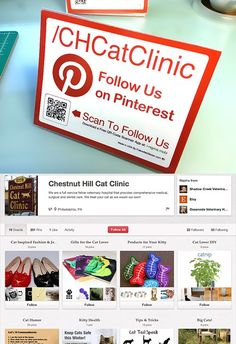 Here's a pic showing a Pinterest Table Tent from Chestnut Hill Cat Clinic be sure to view the Pinterest Page here: http://pinterest.com/CHCatClinic/ - a great Page!
