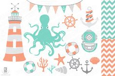 Nautical vector clip art, octopus by GrafikBoutique on Creative Market