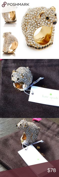 NEW❣️Kate Spade Polar Bear Jeweled Rhinestone Ring NEW❣️Kate Spade Polar Bear Jeweled Rhinestone Ring. Beyond gorgeous statement ring. Covered in rhinestones & 12k Gold Plated with Enamel. Size 6. Comes with dust bag and box. kate spade Jewelry Rings