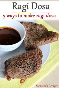 Ragi dosa is a healthy breakfast made with finger millet flour, spices & herbs. 3 simple methods to make ragi dosa. Tasty Vegetarian Recipes, Healthy Dinner Recipes, Indian Food Recipes, Healthy Snacks, Breakfast Recipes, Free Breakfast, Indian Breakfast, Breakfast Ideas, Snack Recipes