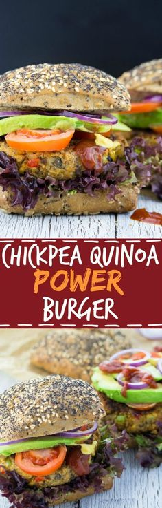 These vegan chickpea quinoa power burgers are packed with protein, veggies, and flavor! Vegan fast food at its best! These vegan chickpea quinoa power burgers are packed with protein, veggie Vegan Foods, Vegan Dishes, Vegan Vegetarian, Vegetarian Recipes, Healthy Recipes, Fast Recipes, Veggie Recipes, Whole Food Recipes, Cooking Recipes