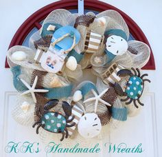 Flip Flop Mesh Wreath with Burlap by KKsHandmadeWreaths on Etsy, $45.00