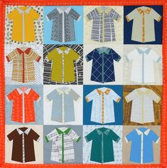 """Shirts"" quilt designed by Carolyn Friedlander. Uses Kona Cotton and Doe by Carolyn Friedlander. Charm Square friendly."