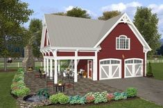 The Charleston Carriage House plan is a 2 car garage with 792 sq. ft. of living quarters above. With siding exterior and decorative details, this house p...