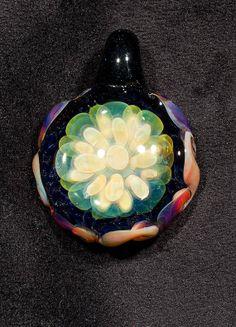 Fumed Layered Flower Pendant Borosilicate by BlueGooseStudios, $30.00