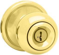 Kwikset 741CA-S Circa Keyed Entry Door Knob Set (Interior Knob always Free) with Polished Brass Knobset Keyed Entry Single Cylinder