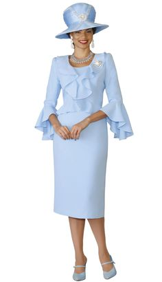 Lily and Taylor 1 Piece French Crepe Ruffle Design Dress Colors Ice Blue Sizes 4 6 8 10 12 14 16 18 20 22 24 Church Suits And Hats, Church Attire, Women Church Suits, Church Dresses, Suits For Women, Clothes For Women, Classy Suits, Hijab Trends, Mother Of Bride Outfits