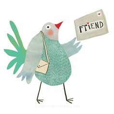 Pigeon Illustration around the theme: time and letters for scrapbooking by Nelleke Verhoeff