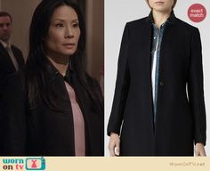 Joan's black coat with leather collar on Elementary. Outfit Details: http://wornontv.net/22637 #Elementary