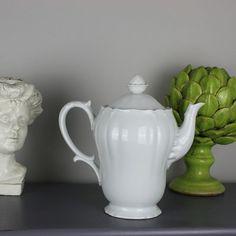 White French Porcelain Coffee Pot Limoges Ulin par Restored2bloved