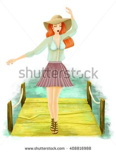 Illustration of girl walking on the beach pier feeling free on a fresh day. Wearing a pleated violet skirt and gouze blouse. Readhead at the beach with big hat for the sun and sandals. Redhead Girl, Beach Walk, Redheads, Disney Characters, Fictional Characters, Walking, Stock Photos, Fresh, Skirt