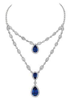 Classics necklace in platinum, brilliant baquettes and marquise cut diamonds, pear cut sapphires. Chaumet, Paris