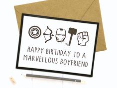Excited to share this item from my shop: Marvel Birthday Card, Marvel Card, Birthday Card For Boyfriend, Marvel Gifts Birthday Card Messages, 21st Birthday Cards, Diy Birthday, Birthday Wishes, Birthday Ideas, Marvel Cards, Marvel Gifts, Traditional Anniversary Gifts, Unique Anniversary Gifts