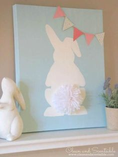 Easter Bunny Canvas with pom pom tail. Such a cute and easy Easter DIY craft idea! Easy Easter Crafts, Easter Projects, Crafts For Kids, Diy Crafts, Easter Ideas, Easter Crafts For Adults, Spring Projects, Bunny Crafts, Art Projects