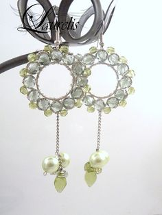 Green round earrings  silver plated by Laurelisbijoux on Etsy, $19.90