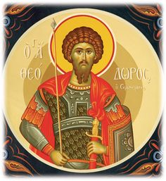 Full of Grace and Truth: Selected hymns to St. Theodore the Great Martyr, Stratelates Byzantine Icons, Byzantine Art, Saints And Soldiers, Artwork For Home, Orthodox Icons, Russian Art, Christian, February 8, Wall Paintings