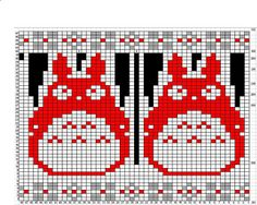 Totoro chart / Ravelry: Project Gallery for Paper Dolls pattern by Kate Davies Fair Isle Knitting Patterns, Knitting Charts, Knitting Stitches, Hand Knitting, Totoro, Cross Stitch Charts, Cross Stitch Patterns, Doll Patterns, Crochet Patterns