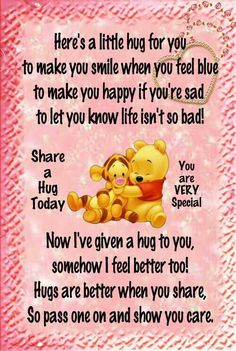 Eeyore Quotes, Hug Quotes, Besties Quotes, Winnie The Pooh Quotes, Winnie The Pooh Friends, Jokes Quotes, Happy Quotes, Friendship Messages, Friendship Quotes