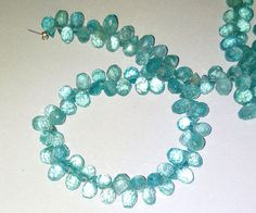 Apatite Faceted Drop Briolette Gemstone Beads 3X5-6X9mm AAA 8 Inch 100% Natural  #Unbranded
