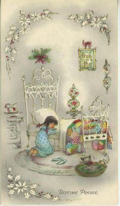 VINTAGE CHRISTMAS GIRL PRAYING WHITE BED QUILT CAT KITTEN GOD CARD ART PRINT | eBay