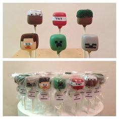 I have had my orders from the boy that he needs a Minecraft party for his birthday next year.and there is SO MUCH good stuff out there, i'm getting excited for it already! Minecraft Cake Pops, Minecraft Party Food, Minecraft Birthday Party, 6th Birthday Parties, Birthday Ideas, Birthday Cake, Minecraft Crafts, Minecraft Skins, Video Game Party