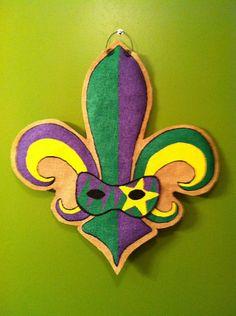 Burlap Door Hanger - Mardi Gras. $25.00, via Etsy.