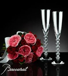 Love's Celebration Bouquet with Baccarat® Crystal Champagne Glasses - 10 Stems