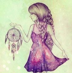 girl holding a dream catcher drawing