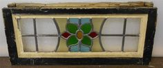 """OLD ENGLISH LEADED STAINED GLASS WINDOW TRANSOM Pretty Floral  22"""" x 9.75"""""""