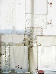 Curtain made of antique handkerchiefs and lace: listed under March 29, 2012...has several other beautiful pictures for decor inspiration