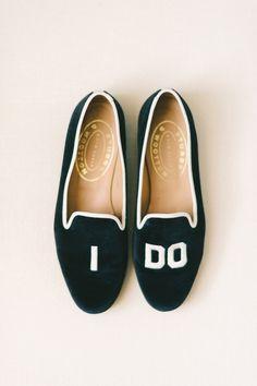 I Do wedding slippers: Photography: Elizabeth Fogarty - http://elizabethfogartyphotography.com/