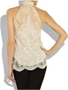 L'agence Chantillylace Halterneck Top in Beige (nude) - Lyst